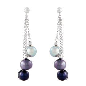 8-9 mm Tuxedo Ringed Pearl Chain Earrings