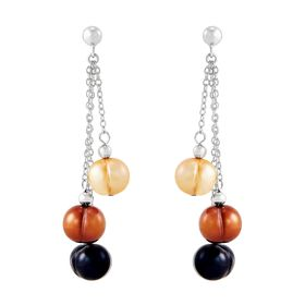 8-9 mm Lynx Ringed Pearl Chain Earrings