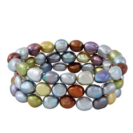 Set of Three 9-10 mm Dark Multicolor Rice Pearl Bracelets