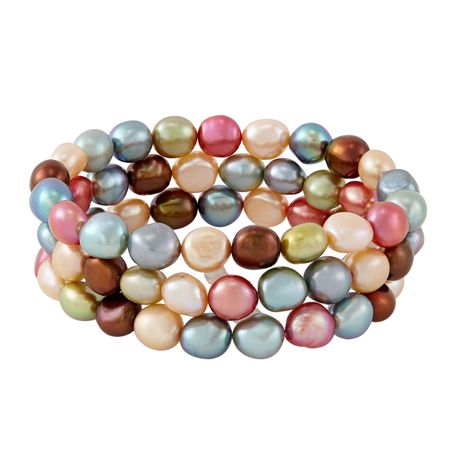 Set of Three 9-10 mm Gelato Rice Pearl Bracelets