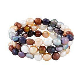 Set of Three 9-10 mm Lynx Rice Pearl Bracelets