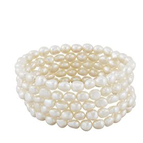 Set of Five 6-7 mm White Rice Pearl Bracelets