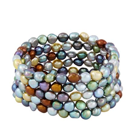 Set of Five 6-7 mm Dark Multicolor Rice Pearl Bracelets