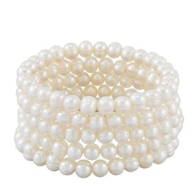 Set of Five 7-8 mm White Potato Pearl Bracelets