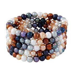 Set of Five 7-8 mm Lynx Potato Pearl Bracelets