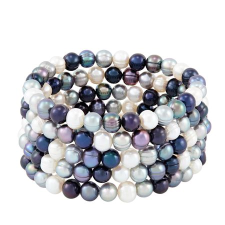 Set of Five 7-8 mm Tuxedo Potato Pearl Bracelets