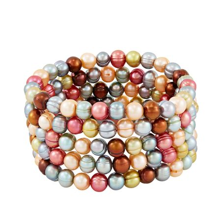 Set of Five 7-8 mm Gelato Potato Pearl Bracelets