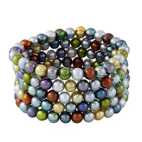 Set of Five 7-8 mm Dark Multicolor Potato Pearl Bracelets