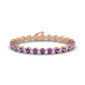 14K Rose Gold Bracelet with Amethyst & Diamond