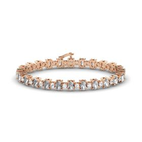 14K Rose Gold Bracelet with Rock Crystal and White Sapphire