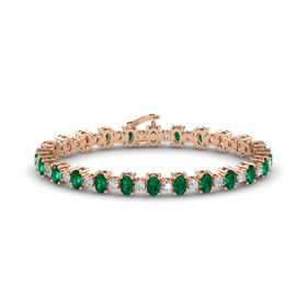 14K Rose Gold Bracelet with Emerald & Diamond