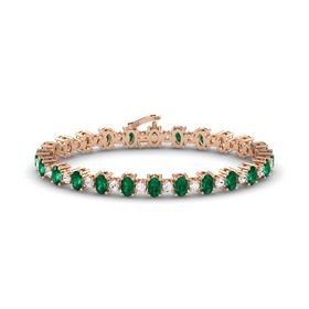 14K Rose Gold Bracelet with Emerald & White Sapphire