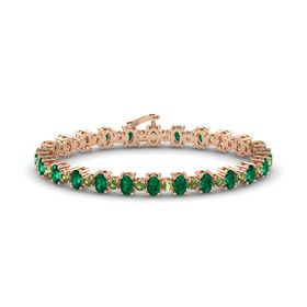 14K Rose Gold Bracelet with Emerald & Green Tourmaline