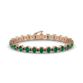 14K Rose Gold Bracelet with Emerald & Alexandrite