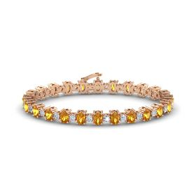 14K Rose Gold Bracelet with Citrine and Diamond