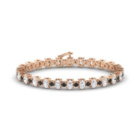 14K Rose Gold Bracelet with White Sapphire and Black Diamond