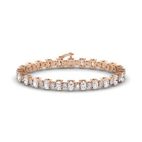 14K Rose Gold Bracelet with White Sapphire & Diamond