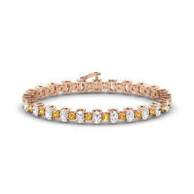 14K Rose Gold Bracelet with White Sapphire and Citrine