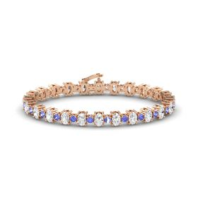 14K Rose Gold Bracelet with White Sapphire & Tanzanite