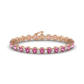 14K Rose Gold Bracelet with Pink Sapphire and Diamond