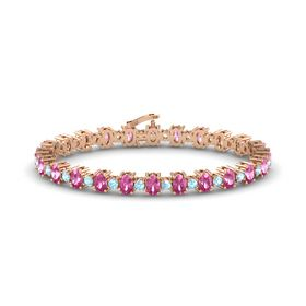 14K Rose Gold Bracelet with Pink Sapphire and Aquamarine
