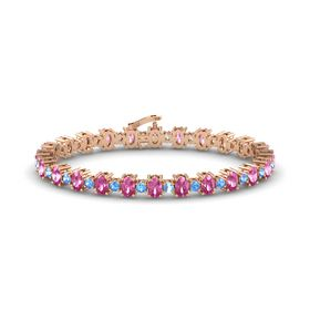 14K Rose Gold Bracelet with Pink Sapphire and Blue Topaz