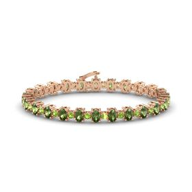 14K Rose Gold Bracelet with Green Tourmaline and Peridot