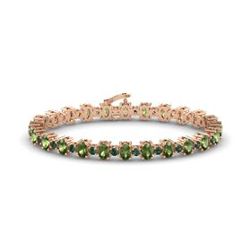 14K Rose Gold Bracelet with Green Tourmaline and Alexandrite