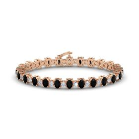 14K Rose Gold Bracelet with Black Onyx and Diamond