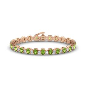 14K Rose Gold Bracelet with Peridot and Diamond