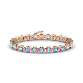 14K Rose Gold Bracelet with Aquamarine & Pink Tourmaline