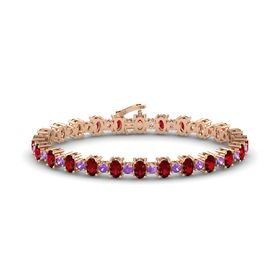 14K Rose Gold Bracelet with Ruby and Amethyst