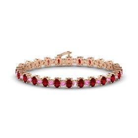 14K Rose Gold Bracelet with Ruby and Pink Tourmaline