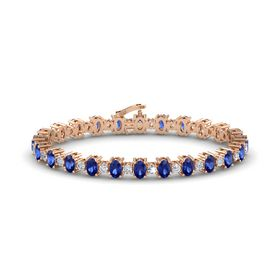 14K Rose Gold Bracelet with Sapphire & Diamond