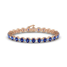 14K Rose Gold Bracelet with Sapphire & Blue Topaz