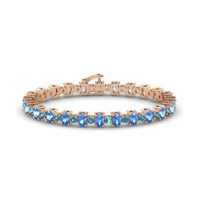 14K Rose Gold Bracelet with Blue Topaz and London Blue Topaz