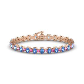14K Rose Gold Bracelet with Blue Topaz and Pink Sapphire
