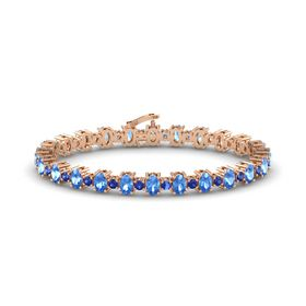14K Rose Gold Bracelet with Blue Topaz and Blue Sapphire