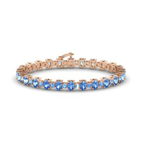 14K Rose Gold Bracelet with Blue Topaz