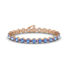 14K Rose Gold Bracelet with Blue Topaz and Iolite