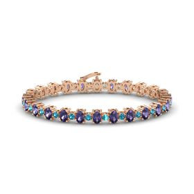 14K Rose Gold Bracelet with Iolite and London Blue Topaz