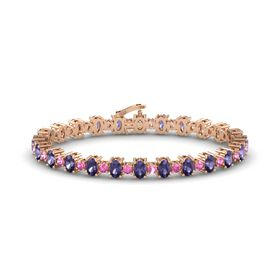 14K Rose Gold Bracelet with Iolite and Pink Sapphire