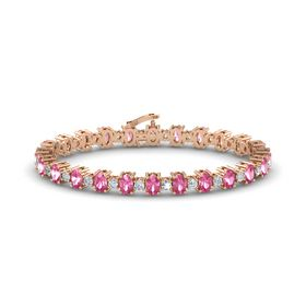 14K Rose Gold Bracelet with Pink Tourmaline & Diamond