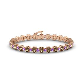 14K Rose Gold Bracelet with Smoky Quartz and Amethyst