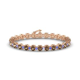 14K Rose Gold Bracelet with Smoky Quartz and Tanzanite