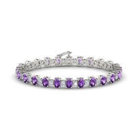 14K White Gold Bracelet with Amethyst & Diamond