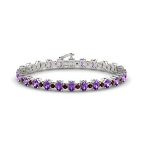 14K White Gold Bracelet with Amethyst & Red Garnet
