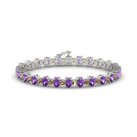 14K White Gold Bracelet with Amethyst & Smoky Quartz