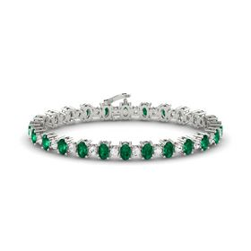 14K White Gold Bracelet with Emerald & White Sapphire