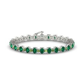 14K White Gold Bracelet with Emerald and Green Tourmaline